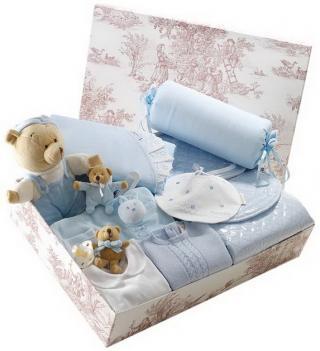 Canastilla de bebe azul modelo Completita