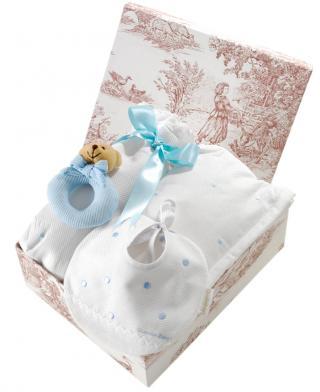 Canastilla de bebé azul modelo Dulce