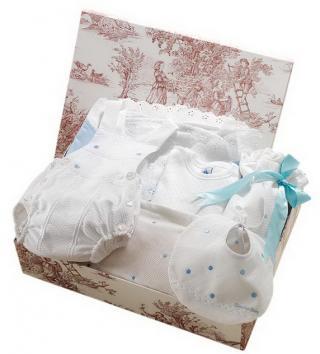 Canastilla de bebé azul modelo Elegante