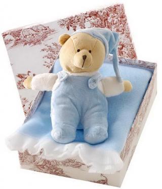 Canastilla de bebé en color azul modelo Acurrucadito