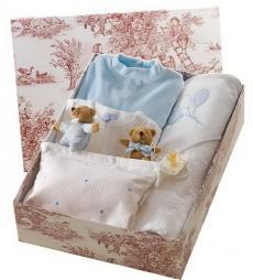 Canastilla de bebé en color azul modelo Burbujitas