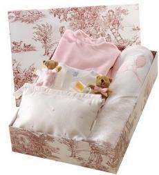 Canastilla de bebé en color rosa modelo Burbujitas