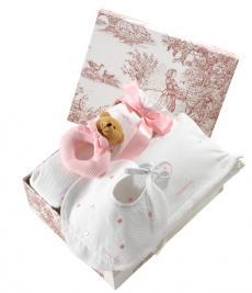 Canastilla de bebé en color rosa modelo Dulce