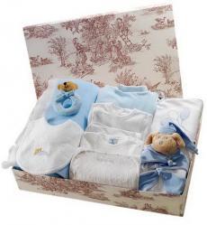 Canastilla de bebe azul modelo Melosa